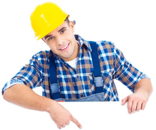 trabajador apuntando